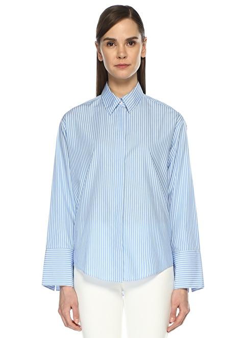 Beymen Club Uzun Kollu Çizgili Gömlek Mavi